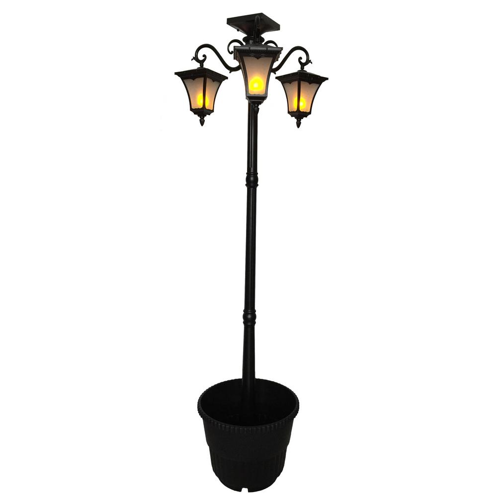 Heritage 3-Lamp Solar Powered Flame Effect LEDs with 18.5...