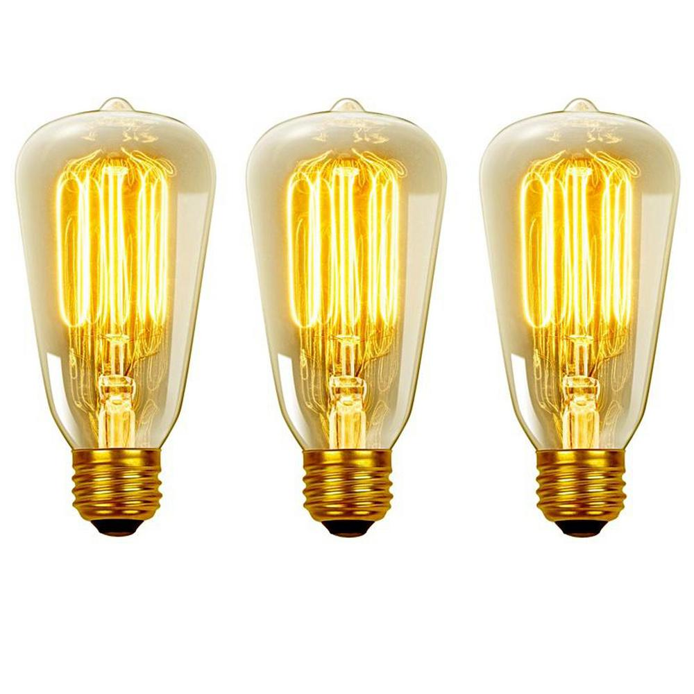 40-Watt Vintage Edison S60 Squirrel Cage E26 Incandescent Filament Light Bulb