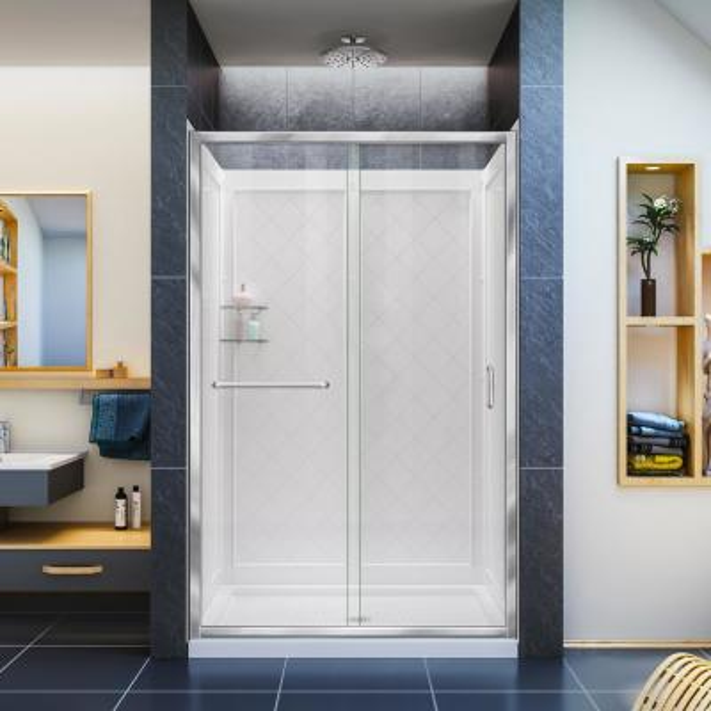 Infinity-Z 36 in. x 48 in. Semi-Frameless Sliding Shower Door in Chrome with Center Drain Base and Backwalls