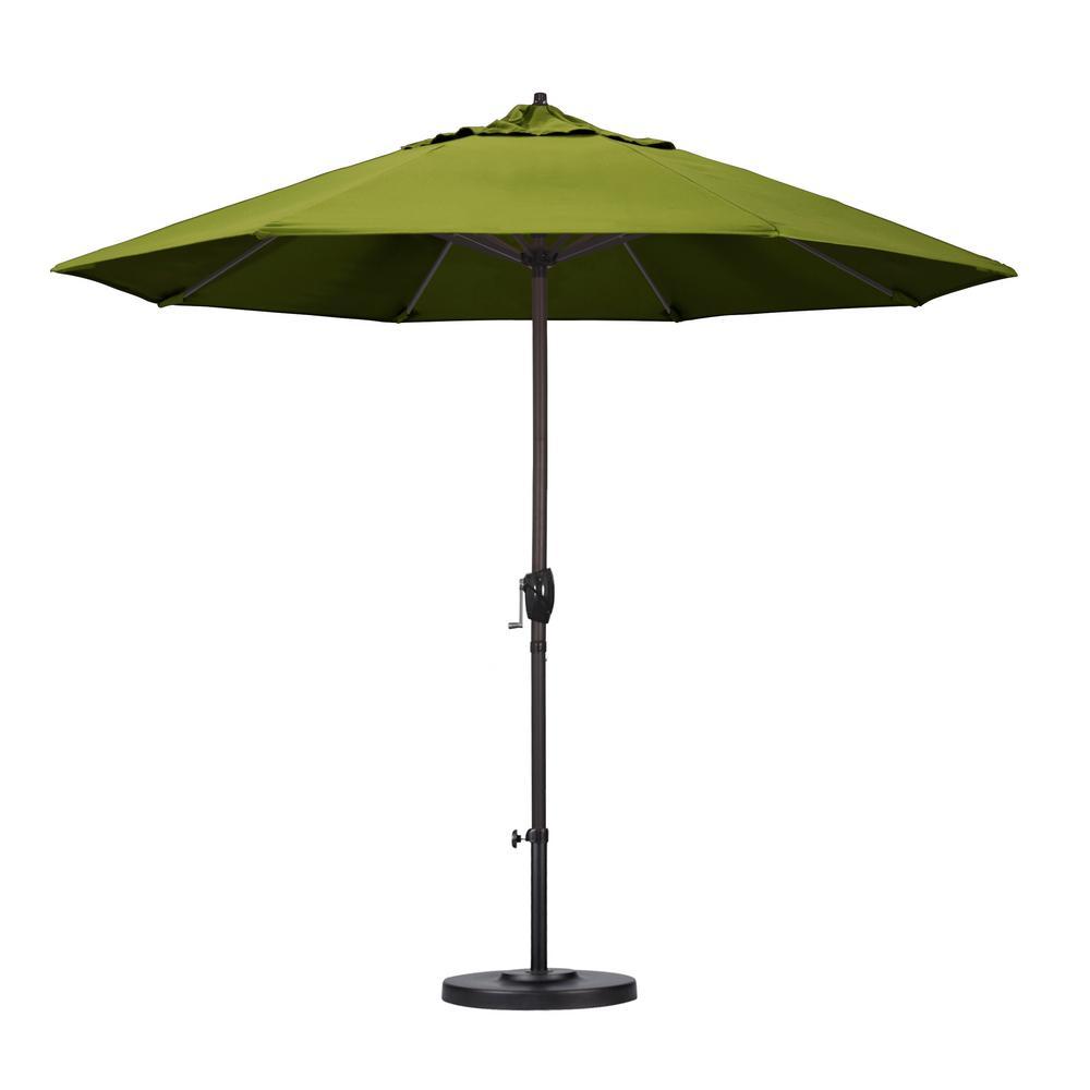 9 ft. Aluminum Auto Tilt Patio Umbrella in Kiwi Olefin