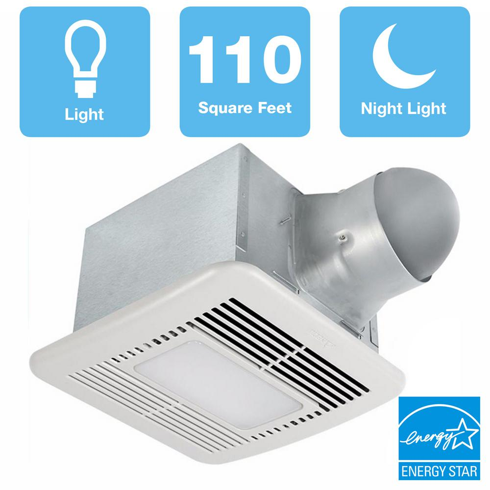 delta breez signature series 110 cfm ceiling bathroom exhaust fan with dimmable led, night light and adjustable cfm, energy star wiring a bathroom fan and light to one switch install a bathroom exhaust fan
