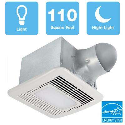 Signature Series 110 CFM Ceiling Bathroom Exhaust Fan with Dimmable LED, Night Light and Adjustable CFM, ENERGY STAR