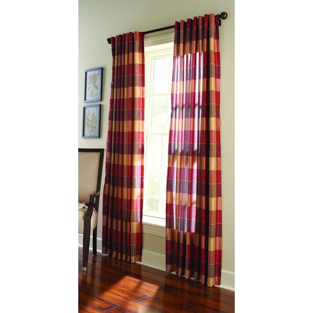 Semi-Opaque Miso Merlot Faux Silk Plaid Curtain