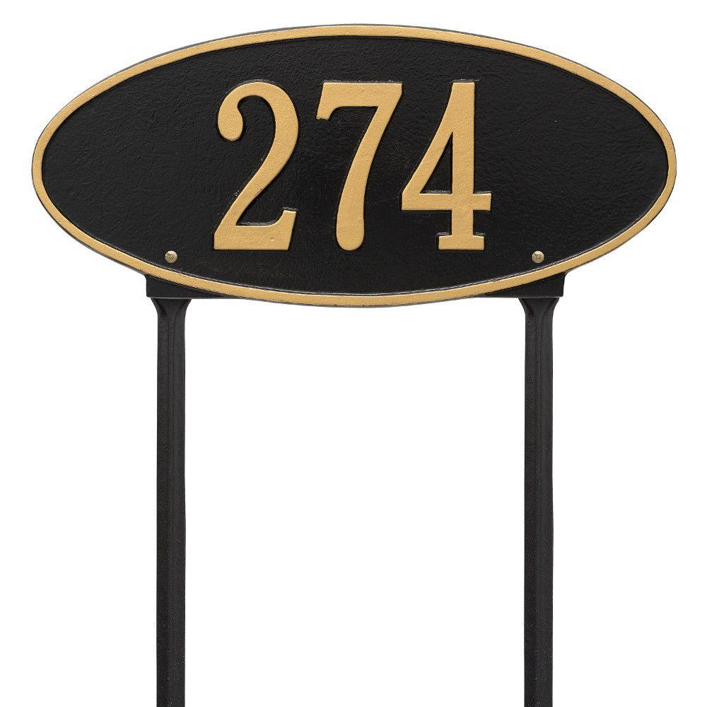 Whitehall Products Madison Oval Standard Lawn 1-Line Address Plaque - Black/Gold