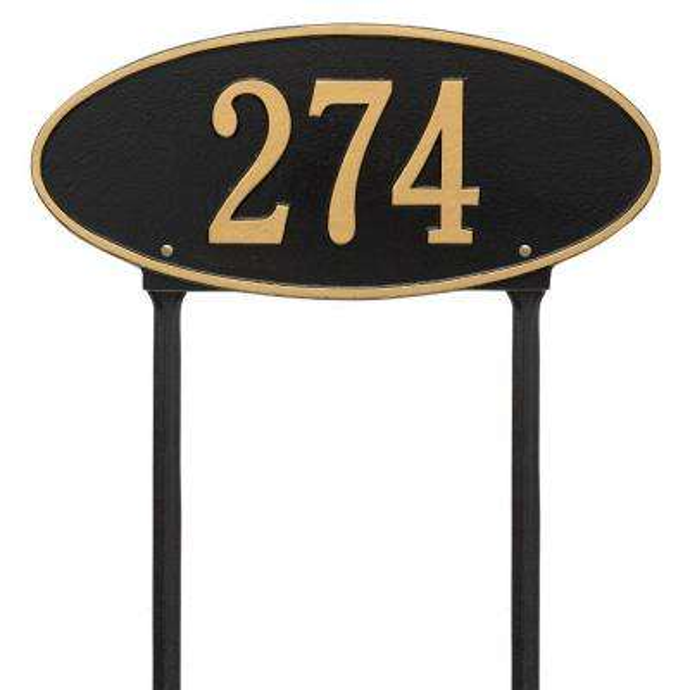Madison Oval Standard Lawn 1-Line Address Plaque - Black/Gold