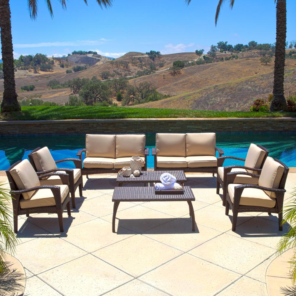 Noble House Atticus Brown 8-Piece Wicker Patio Conversation Set with Tan Cushions
