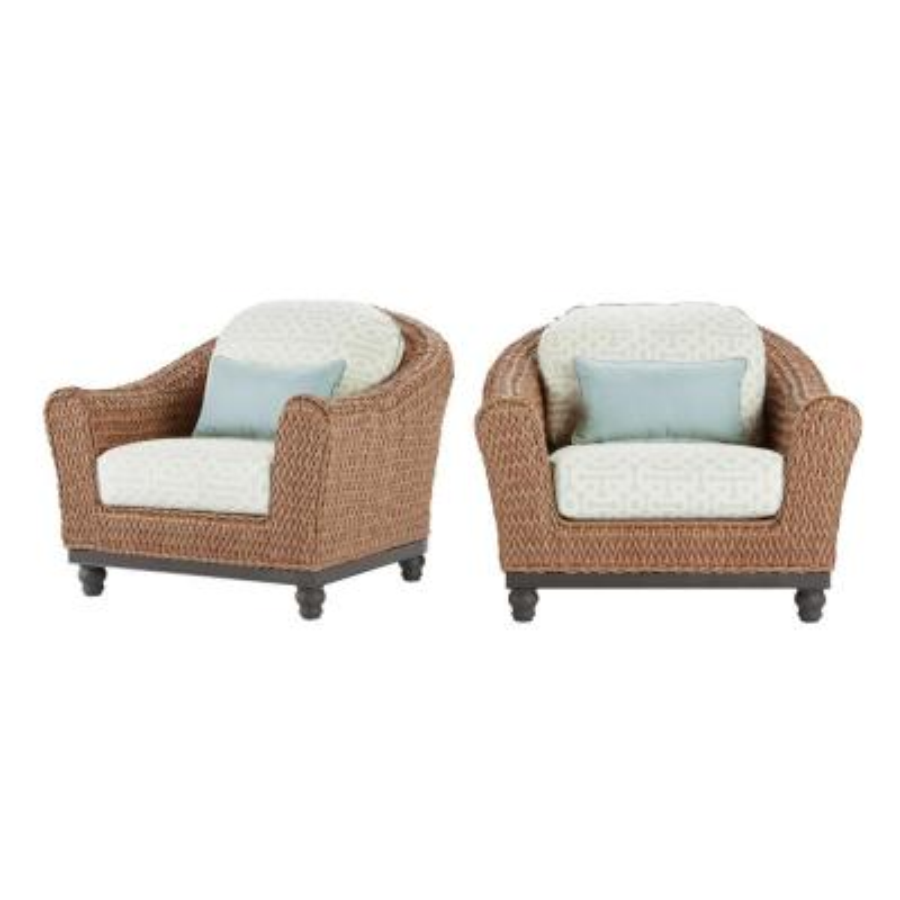 Camden Light Brown 5-Piece Wicker Deep Seating Set with Sunbrella Canvas Spa Cushions