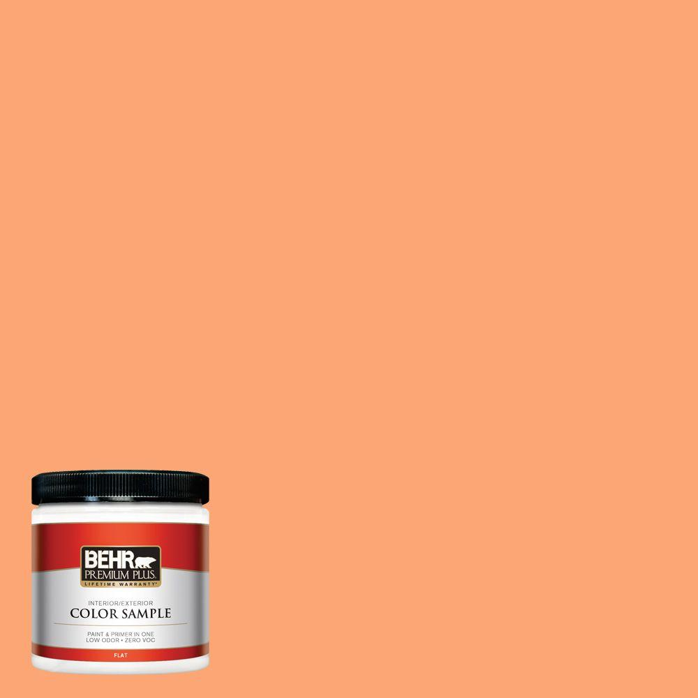 BEHR Premium Plus 8 oz. #240B-4 Marmalade Flat Zero VOC Interior/Exterior Paint and Primer in One Sample