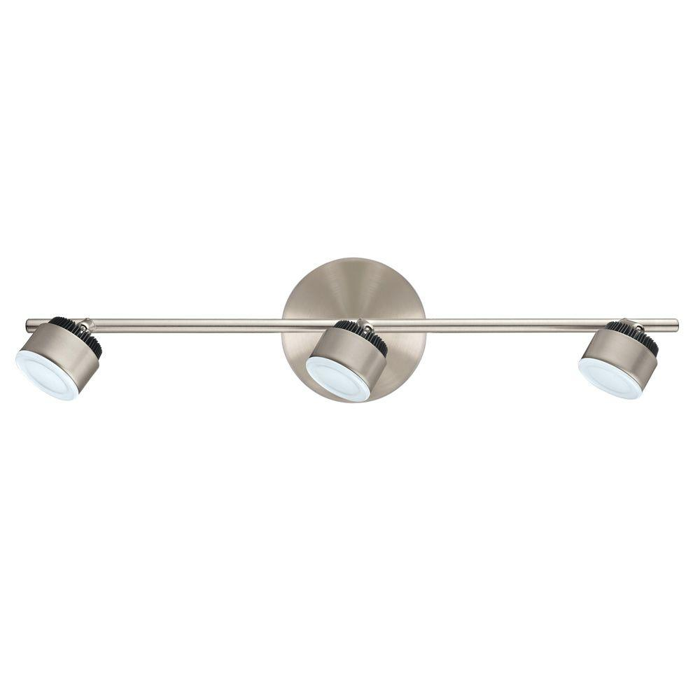 EGLO Armento 1 Collection 22.83 in. W 3-Light Satin Nickel Dimmable Integrated LED Track Lighting Kit with Adjustable Heads