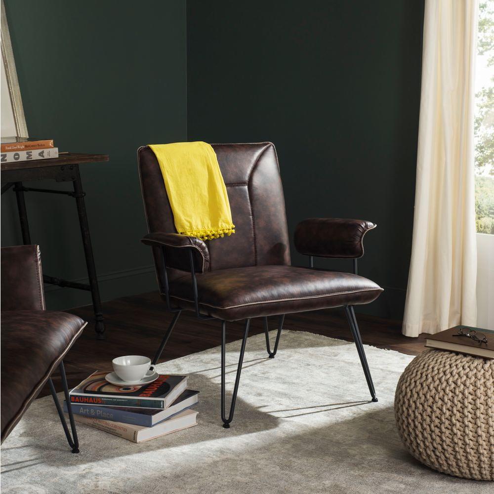 Safavieh Johannes Antique Brown Leather Arm Chair-FOX1700A ...