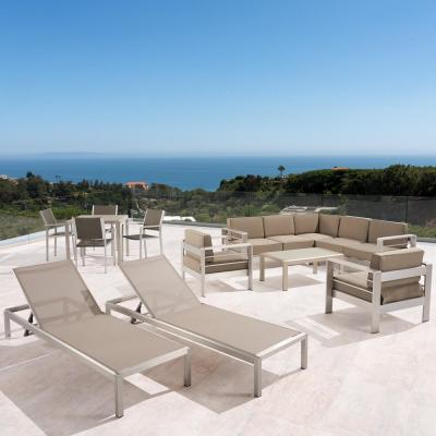 Cape Coral Silver 13-Piece Aluminum Patio Conversation Set with Khaki Cushions