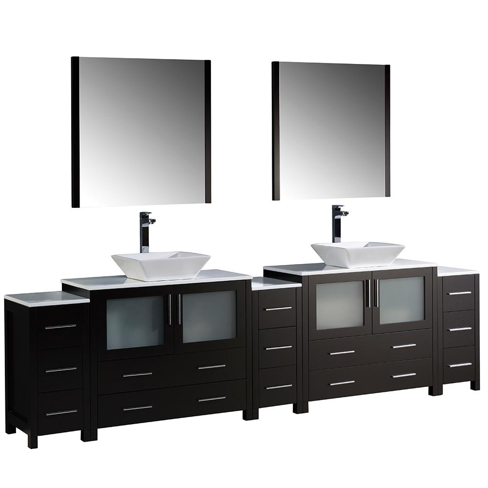 Fresca Torino 108 in. Double Vanity in Espresso with Glass Stone Vanity Top in White with White Basins and Mirrors