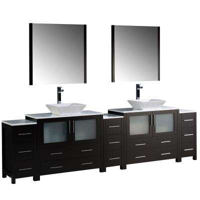 Torino 108 in. Double Vanity in Espresso with Glass Stone Vanity Top in White with White Basins and Mirrors