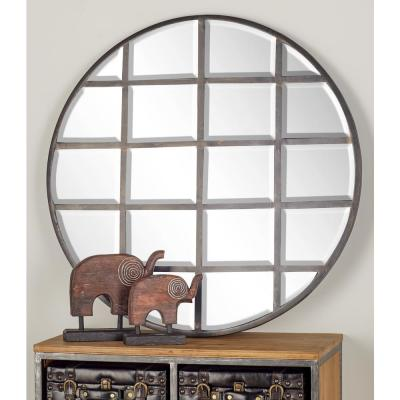 CosmoLiving by Cosmopolitan 36 in. Round Silver Decorative Wall Mirror with Grid-Inspired Panels
