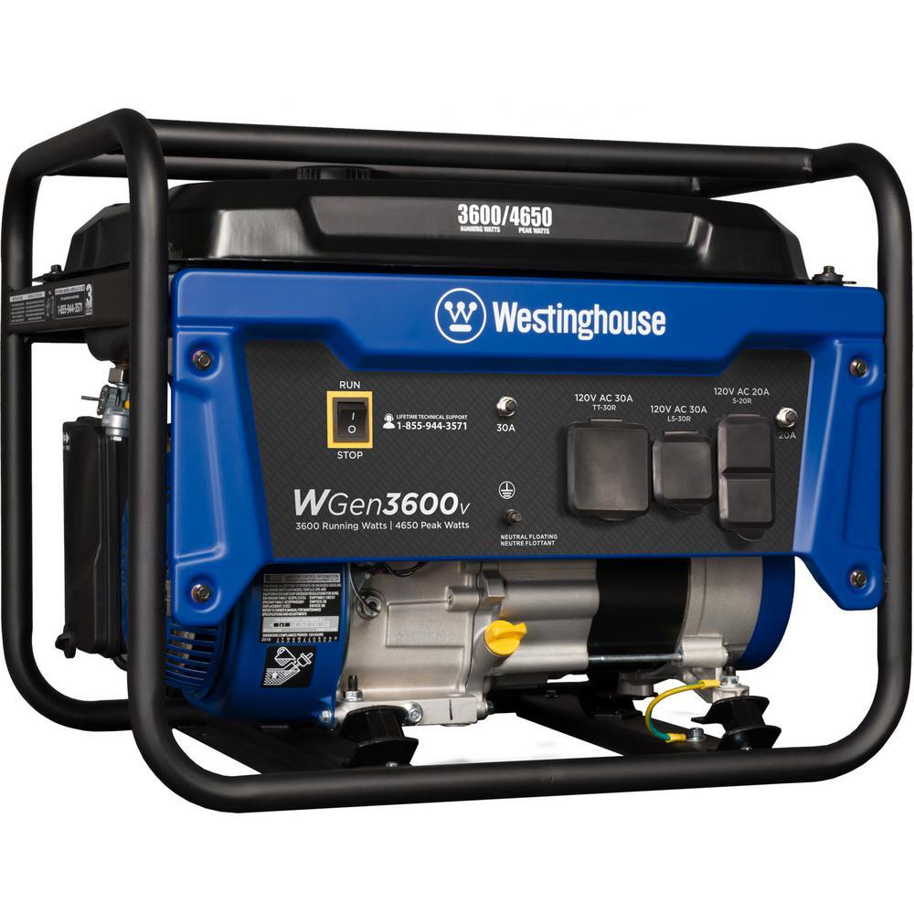 WGen 3,600-Watt Gasoline Powered Portable Generator with RV Ready TT-30R 30 Amp Receptacle