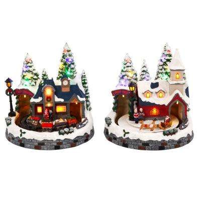 8 in h assorted battery operated musical scenes set of 2 - Christmas Village Decorations