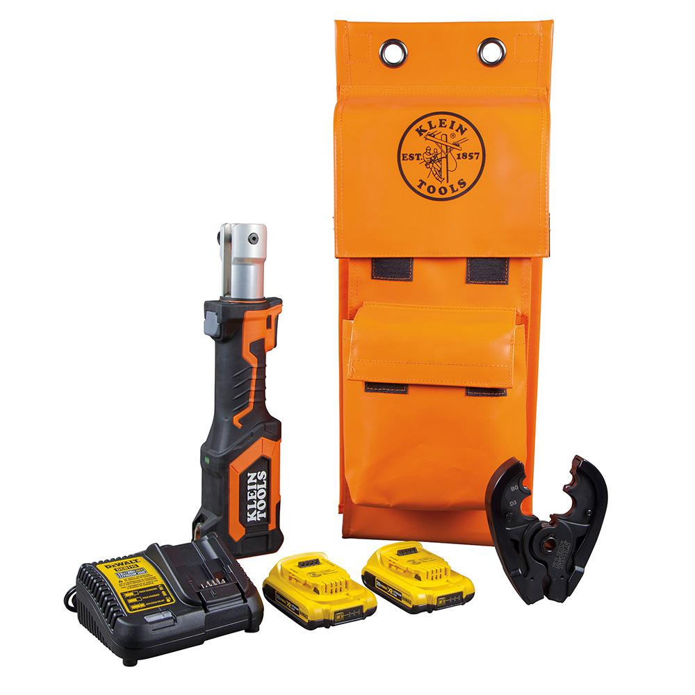 Klein-Tools Battery-Operated BG Die/D3 Groove Crimper with Two 2 Ah Batteries Charger and Bag