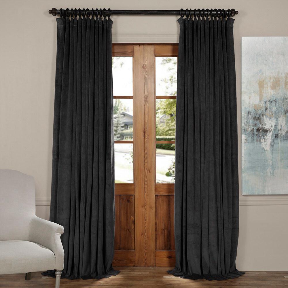 Blackout Signature Gunmetal Grey Doublewide Blackout Velvet Curtain - 100 in. W x 84 in. L (1 Panel)