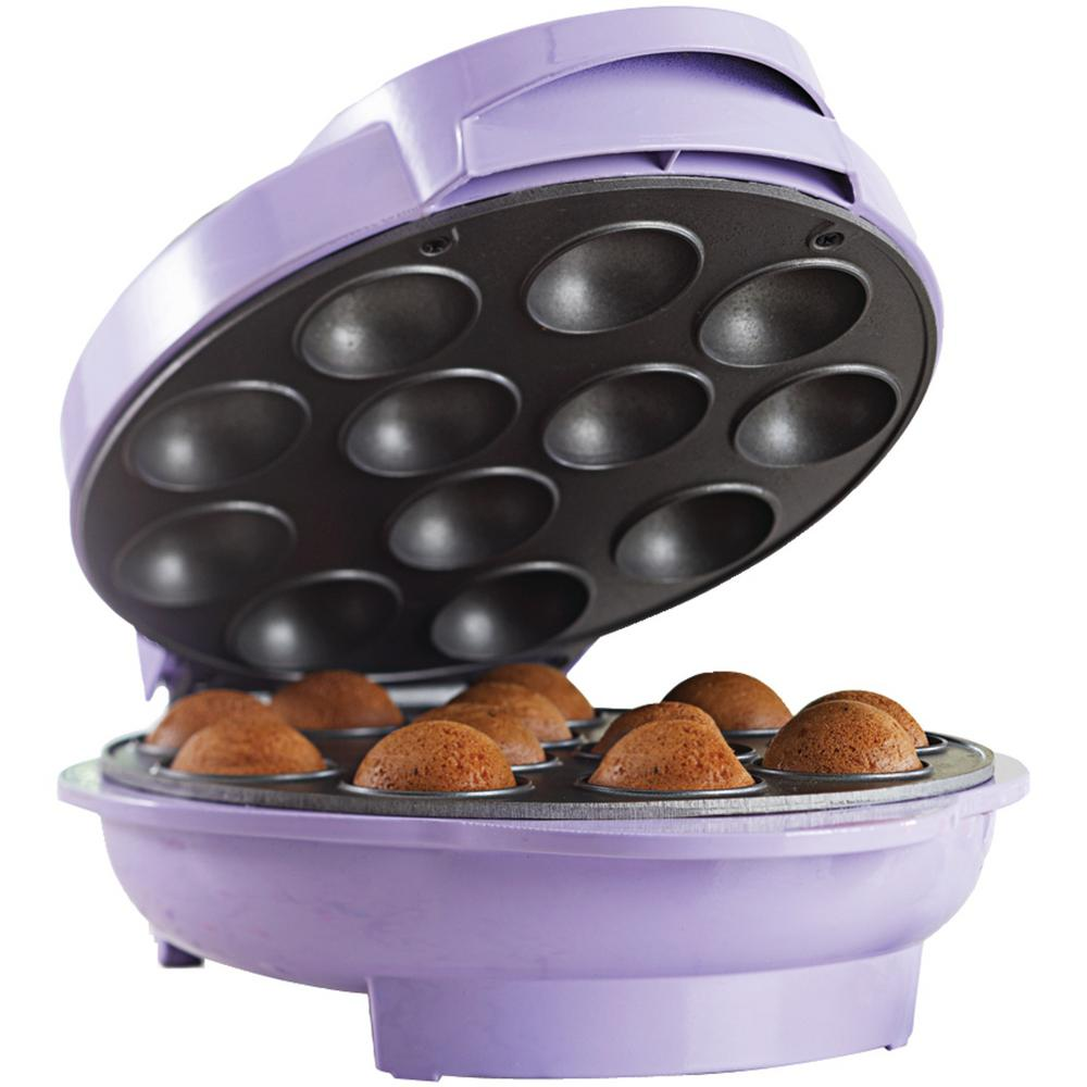 Nonstick Cake Pop Maker, Purple Bake 12 mouth-watering cake pops in only 4 minutes with the TS-254 Nonstick Cake Pop Maker from Brentwood Appliances. The power and preheat indicator lights let you know when your cake pops are hot and ready to be taken out. When not in use, the vertical feet and cable wrap allow the appliance to stand upright and out of the way for easy, convenient storage. This purple cake pop maker includes a 1-year manufacturer warranty.