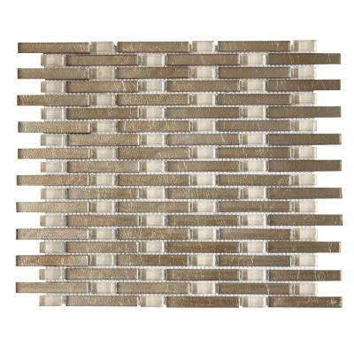 Sphynx Browns/Tans 11 in. x 13.25 in. x 8 mm Interlocking Glossy Glass Mosaic Tile