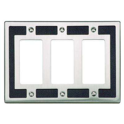 Zanzibar Collection 3 Rocker Switch Wall Plate - Black Leather and Brushed Nickel