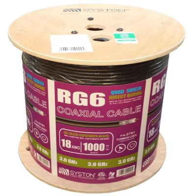 RG6 Quad Shield 1000 ft. Direct Burial Black Coaxial Cable