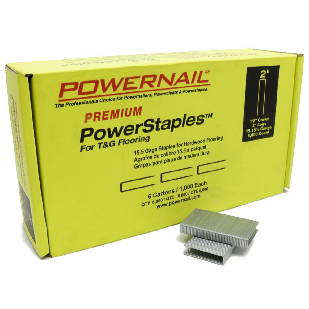 PowerStaples 2 in. 15-1/2-Gauge Hardwood Flooring Staples 6 Boxes of 1,000-Count