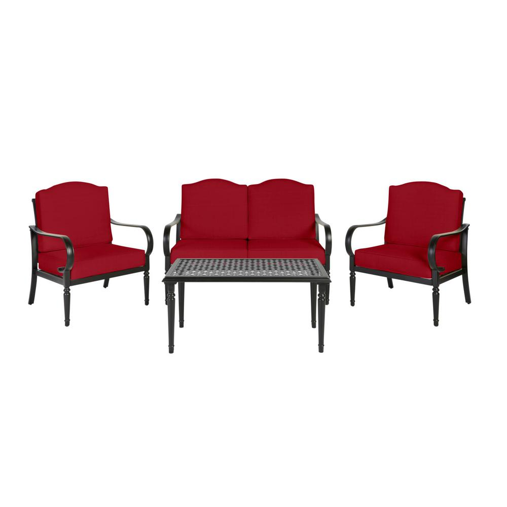 Laurel Oaks Brown 4-Piece Steel Outdoor Patio Conversation Seating Set with CushionGuard Chili Red Cushions