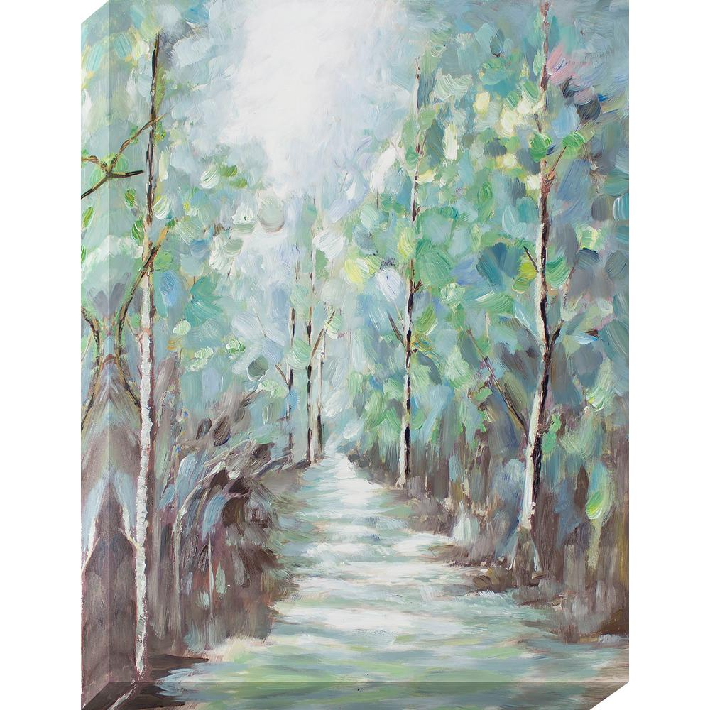 40 in. x 30 in. Tree Lined Path Oil Painted Canvas