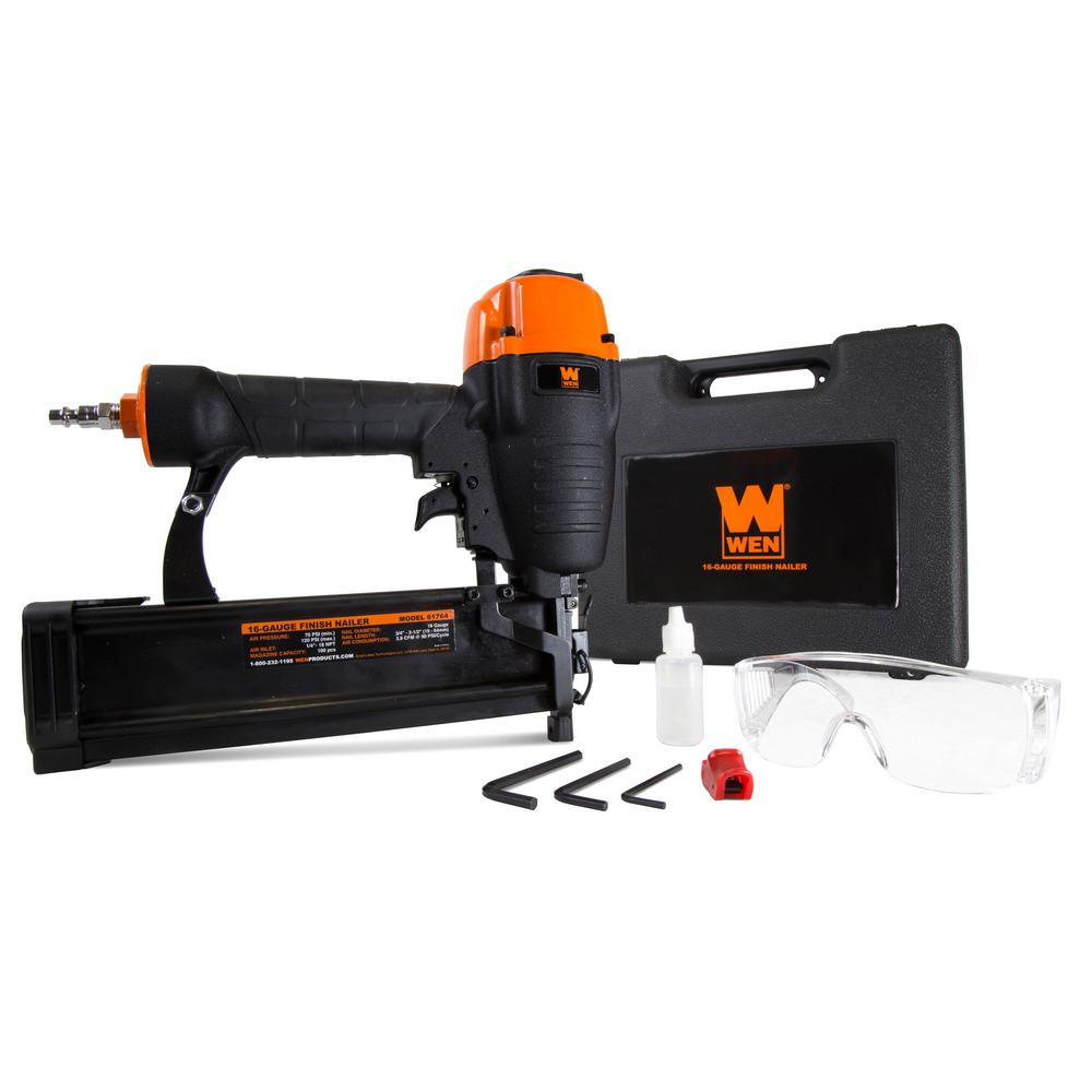 WEN Pneumatic 16-Gauge Straight Finish Nailer with ...