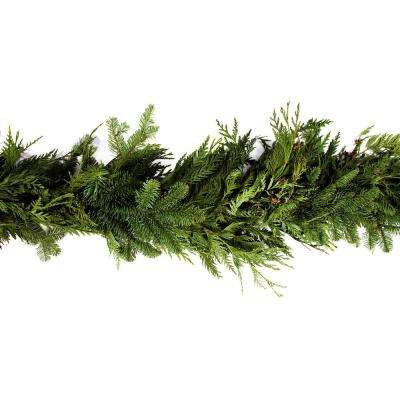 15 ft. Fresh Cut Mixed Garland with Fragrant Red Cedar, Noble Fir, and Douglas Fir