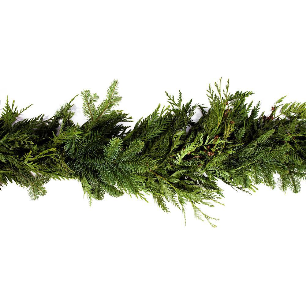25 ft. Fresh Cut Mixed Garland with Fragrant Red Cedar, Noble Fir, and Douglas Fir