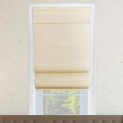 48 in . W x 64 in. L Abaca Cream (Natural Woven) Horizontal  Fabric Roman Shade