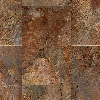 Rustic Rectangular Slate Clay Residential Vinyl Sheet, Sold by 12 ft. Wide x Custom Length