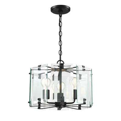 Decorative Interior 3-Light Black Pendant