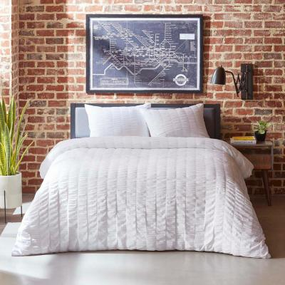 Orleans White 2-Piece Seersucker Twin Duvet/Sham Set