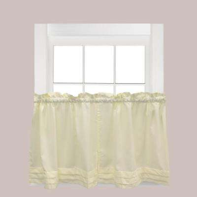 Holden Natural Polyester Rod Pocket Tier Curtain - 57 in. W x 30 in. L