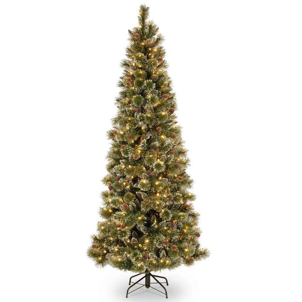 national tree company 75 ft glittery bristle slim pine artificial christmas tree with clear lights - National Christmas Tree Company