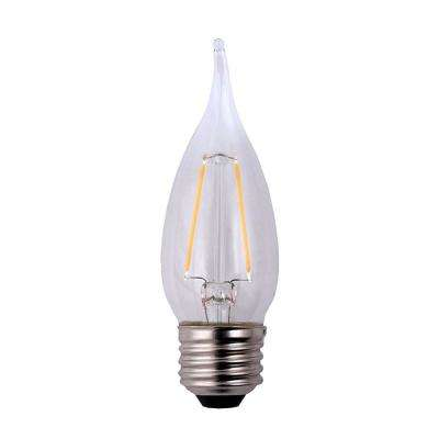 25-Watt Equivalent B11 Flame Tip Dimmable Clear Glass Filament LED Light Bulb Daylight (12-Pack)