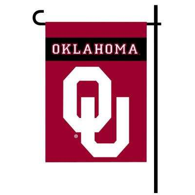 NCAA 13 in. x 18 in. Oklahoma 2-Sided Garden Flag Set with 4 ft. Metal Flag Stand