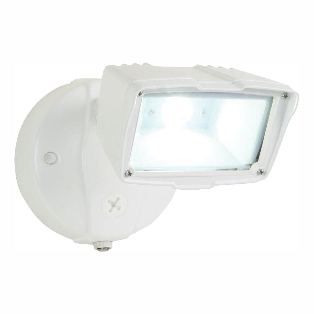 All-Pro White Outdoor Integrated LED Small Single-Head Security Flood Light  with 1400 Lumens and 5000K Daylight
