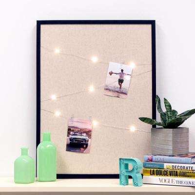 Burlap Photo Firefly String Lights Black Cork Memo Board