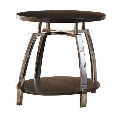 Coham Espresso Silvershield and Metal End Table