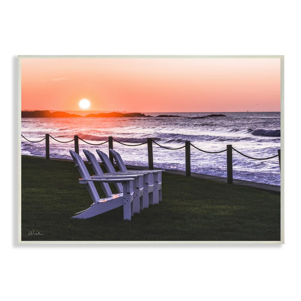 The Stupell Home Decor Set of Teal Blue Chairs on The Beach Wall Plaque Art Multi-Color 13 x 19