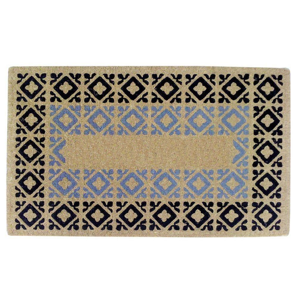 Creative Accents Crispin Blue and Black 22 in. x 36 in. HeavyDuty Coir Door Mat
