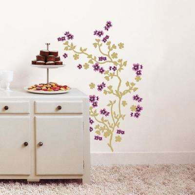 Multi-color Japanese Cherry Tree Adhesive Wall Decal