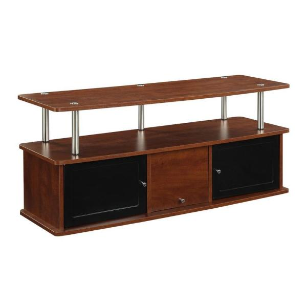 47 in. Cherry and Black Particle Board TV Stand 50 in. with Doors