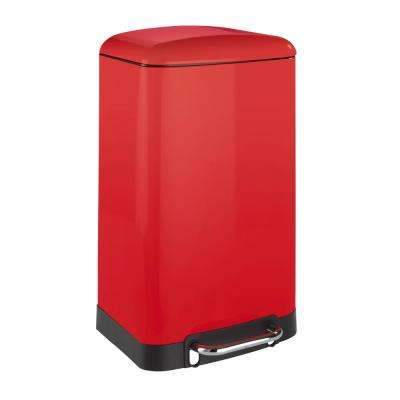 Studio 7.9 Gal. Easy Close Matte Red Step on Trash Can