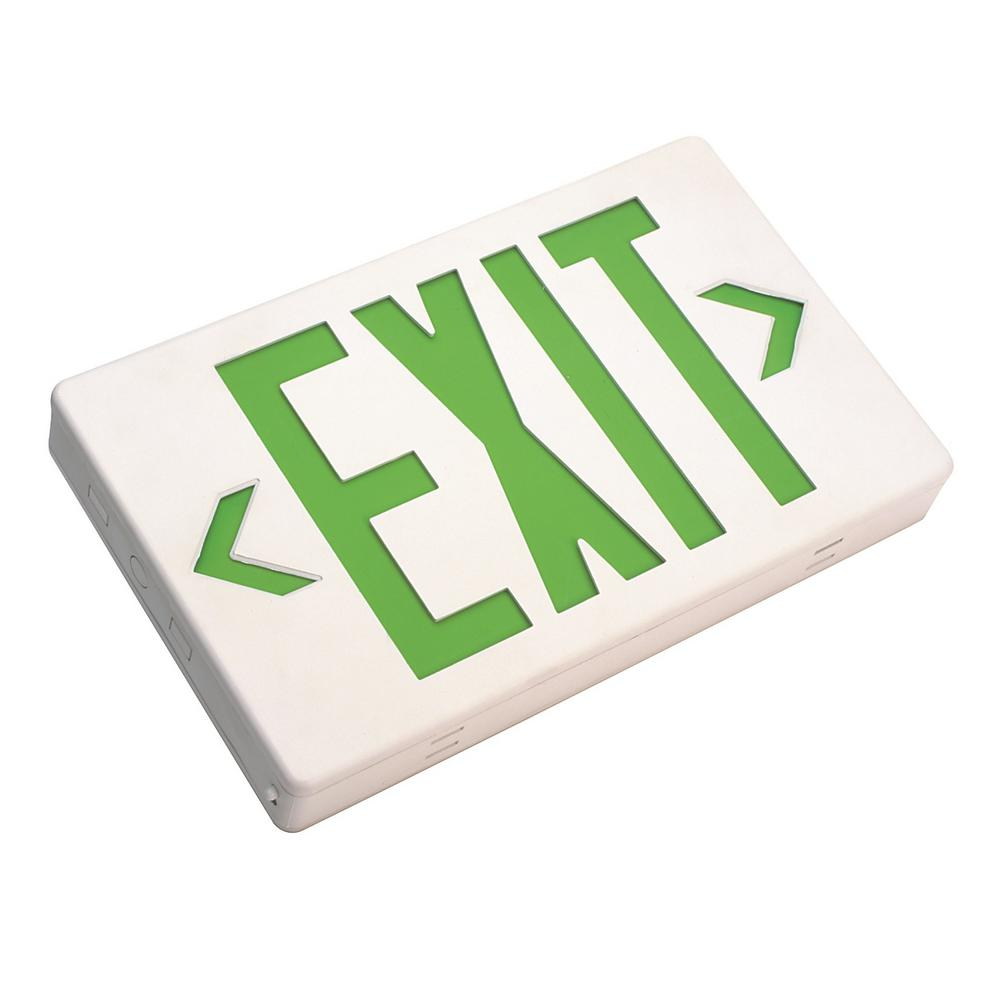 EXL1 Series 1.2-Volt White Integrated LED Emergency Exit Sign with Green
