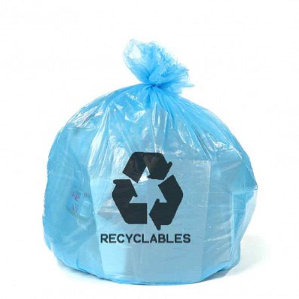 Plasticplace 12 16 Gal Blue Recycling Bags With Symbol